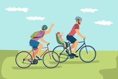 Vectorillustratie van gelukkige zelfde-geslachtsfamilie in helmen die B berijden stock illustratie
