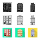 Vectorillustratie van gemeentelijk en centrumembleem Inzameling van gemeentelijk en landgoed vectorpictogram voor voorraad stock illustratie