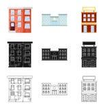 Vectorillustratie van gemeentelijk en centrumsymbool Inzameling van gemeentelijk en landgoed vectorpictogram voor voorraad stock illustratie