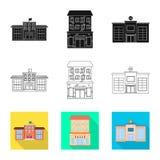 Vectorillustratie van gemeentelijk en centrumsymbool Inzameling van gemeentelijk en landgoed vectorpictogram voor voorraad royalty-vrije illustratie