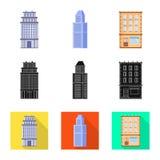 Vectorillustratie van gemeentelijk en centrumteken Inzameling van gemeentelijk en landgoed vectorpictogram voor voorraad royalty-vrije illustratie