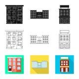 Vectorillustratie van gemeentelijk en centrumteken Reeks van gemeentelijk en landgoed vectorpictogram voor voorraad vector illustratie