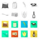 Vectorillustratie van gewas en ecologisch embleem Inzameling van gewas en kokende voorraad vectorillustratie stock illustratie