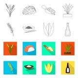 Vectorillustratie van gewas en ecologisch embleem Reeks van gewas en kokend voorraadsymbool voor Web stock illustratie