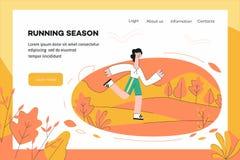 Vectorillustratie van gezond en sportief de websitemalplaatje van het levensstijlconcept royalty-vrije illustratie