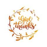 Vectorillustratie van Give danktekst voor de banner van de de groetkaart van de partijuitnodiging Stock Afbeeldingen