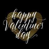 Vectorillustratie van gouden de groetkaart van de valentijnskaartendag vector illustratie