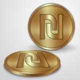 Vectorillustratie van gouden muntstukken met Israëliër Stock Afbeeldingen