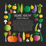 Vectorillustratie van groenten in moderne vlakke wi van de ontwerpstijl Stock Afbeeldingen