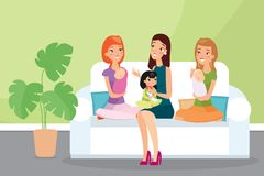 Vectorillustratie van groep moeders met hun kinderen Jonge vrouwenvrienden die samen op een bank en het spreken zitten stock foto's