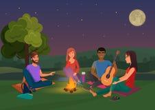 Vectorillustratie van groep vrienden die met gitaar zitten en bij nacht spreken Royalty-vrije Stock Afbeeldingen