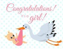 Vectorillustratie van groetkaart met ooievaar die pasgeboren babygirl met gelukwenstekst dragen Gelukkig babymeisje binnen vector illustratie