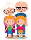 Vectorillustratie van grootouders en hun kleinkinderen royalty-vrije illustratie