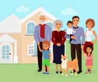 Vectorillustratie van grote gelukkige Kaukasische familie met vele kinderen, moeder, vader met grootmoeder en grootvader vector illustratie