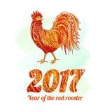 Vectorillustratie van haan, symbool 2017 op de Chinese kalender Silhouet rode haan element voor Nieuwjaars ontwerp Royalty-vrije Stock Fotografie