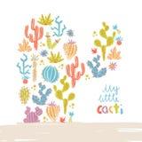 Vectorillustratie van hand getrokken cactus Compo van het cactussensilhouet Royalty-vrije Stock Afbeelding