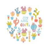 Vectorillustratie van hand getrokken cactus Ronde samenstelling Bri Stock Afbeeldingen