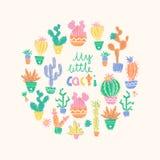 Vectorillustratie van hand getrokken cactus Ronde samenstelling Bri Royalty-vrije Stock Afbeeldingen