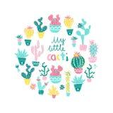 Vectorillustratie van hand getrokken cactus Ronde samenstelling Bri Stock Foto