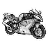 Vectorillustratie van hand getrokken motorfiets, sportfiets Gedetailleerde geschetste klassieke sportfiets in inktstijl voor het  royalty-vrije illustratie