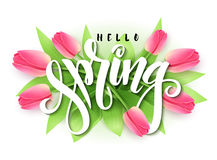 Vectorillustratie van hand het van letters voorzien - hello vertakt de lente zich op een achtergrond van bloeiende tulp stock illustratie