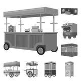 Vectorillustratie van handel en voedselembleem Inzameling van handel en de vectorillustratie van de tentvoorraad stock illustratie