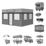 Vectorillustratie van handel en voedselteken Reeks van handel en de vectorillustratie van de tentvoorraad stock illustratie