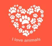 Vectorillustratie van hart de dierlijke voetafdrukken Stock Fotografie