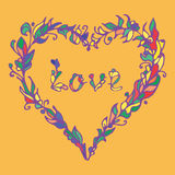 Vectorillustratie van hart Hand getrokken liefdekrabbel Kleurrijk Element Stock Afbeeldingen