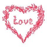 Vectorillustratie van hart Hand getrokken liefdekrabbel Roze element Stock Foto's