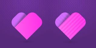 Vectorillustratie van hartpictogrammen op purpere achtergrond Stock Foto's
