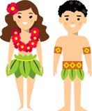 Vectorillustratie van Hawaiiaans mannetje en wijfje Stock Afbeeldingen