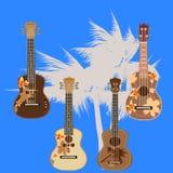 Vectorillustratie van Hawaiiaanse elektrische die gitaarukelele op witte achtergrond wordt geïsoleerd vector illustratie