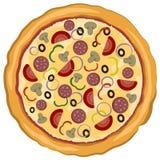 Vectorillustratie van Heerlijke Italiaanse die pizza op een witte achtergrond wordt geïsoleerd Abstract Elegantievoedsel Stock Fotografie