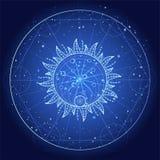 Vectorillustratie van Heilig of mysticussymbool op abstracte achtergrond Geometrisch die teken in lijnen wordt getrokken Blauwe k royalty-vrije illustratie