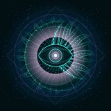 Vectorillustratie van Heilig of mysticussymbool op abstracte achtergrond Geometrisch die teken in lijnen wordt getrokken vector illustratie