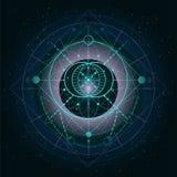 Vectorillustratie van Heilig of mysticussymbool op abstracte achtergrond Geometrisch die teken in lijnen wordt getrokken stock illustratie