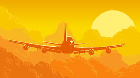 Vectorillustratie van hemel en wolken met vliegende vliegtuigen Stock Afbeeldingen