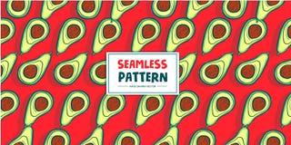 Vectorillustratie van het avocado de Naadloze Patroon Stock Afbeeldingen