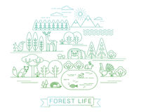 Vectorillustratie van het bosleven Stock Foto's