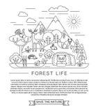 Vectorillustratie van het bosleven Stock Fotografie