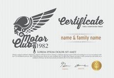 Vectorillustratie van het certificaat van de motorclub Royalty-vrije Stock Fotografie