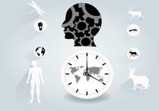 Vectorillustratie van het Ecoology de conceptuele vlakke ontwerp Zwart menselijk hoofd, klok, dieren Stock Fotografie