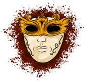 Vectorillustratie van het gouden masker van Carnaval voor theater en festivallen, kleurrijk helder Venetiaans die masker wordt ve vector illustratie