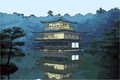 Vectorillustratie van het Gouden Paviljoen - Kyoto, Japan vector illustratie
