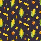 Vectorillustratie van het graan de naadloze patroon Maïsoor of maïskolf Stock Foto