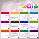 Vectorillustratie van het kalender 2018 de gelukkige nieuwe jaar Stock Foto's