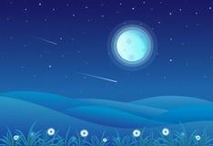 Vectorillustratie van het landschap van nachtheuvels vector illustratie