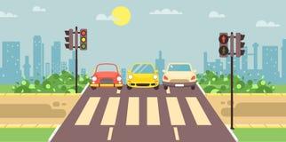 Vectorillustratie van het landschap van het kant van de wegbeeldverhaal met rijweg, weg, stoep en lege voetstreek met auto's stock illustratie