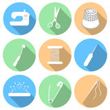 Vectorillustratie van het naaien pictogramreeks Stock Afbeelding